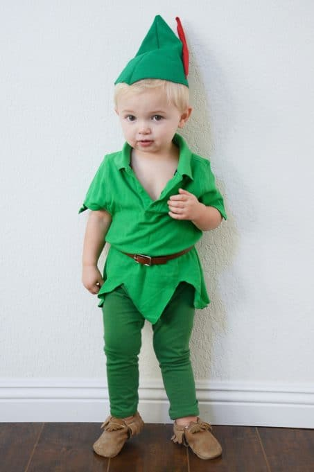 Little boy in DIY Peter Pan costume image.