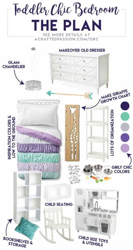 See the design plan for our One Room Challenge Toddler Chic Bedroom makeover for our little girl in this Montessori-inspired room.