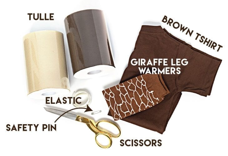 Tulle, brown shirt, elastic, scissors, safety pin image.