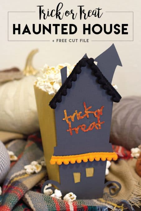 Make this easy DIY paper craft Trick or Treat haunted house perfect for Halloween. Get this free PDF printable file.