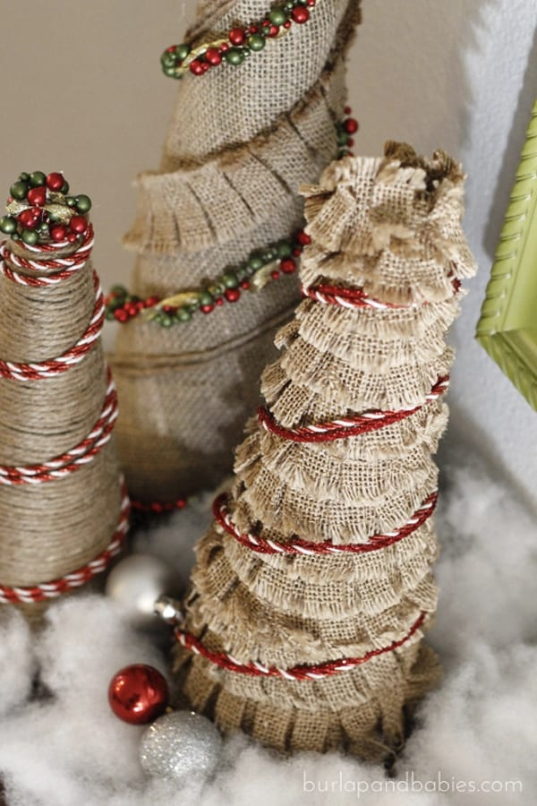 Mini burlap Christmas trees.
