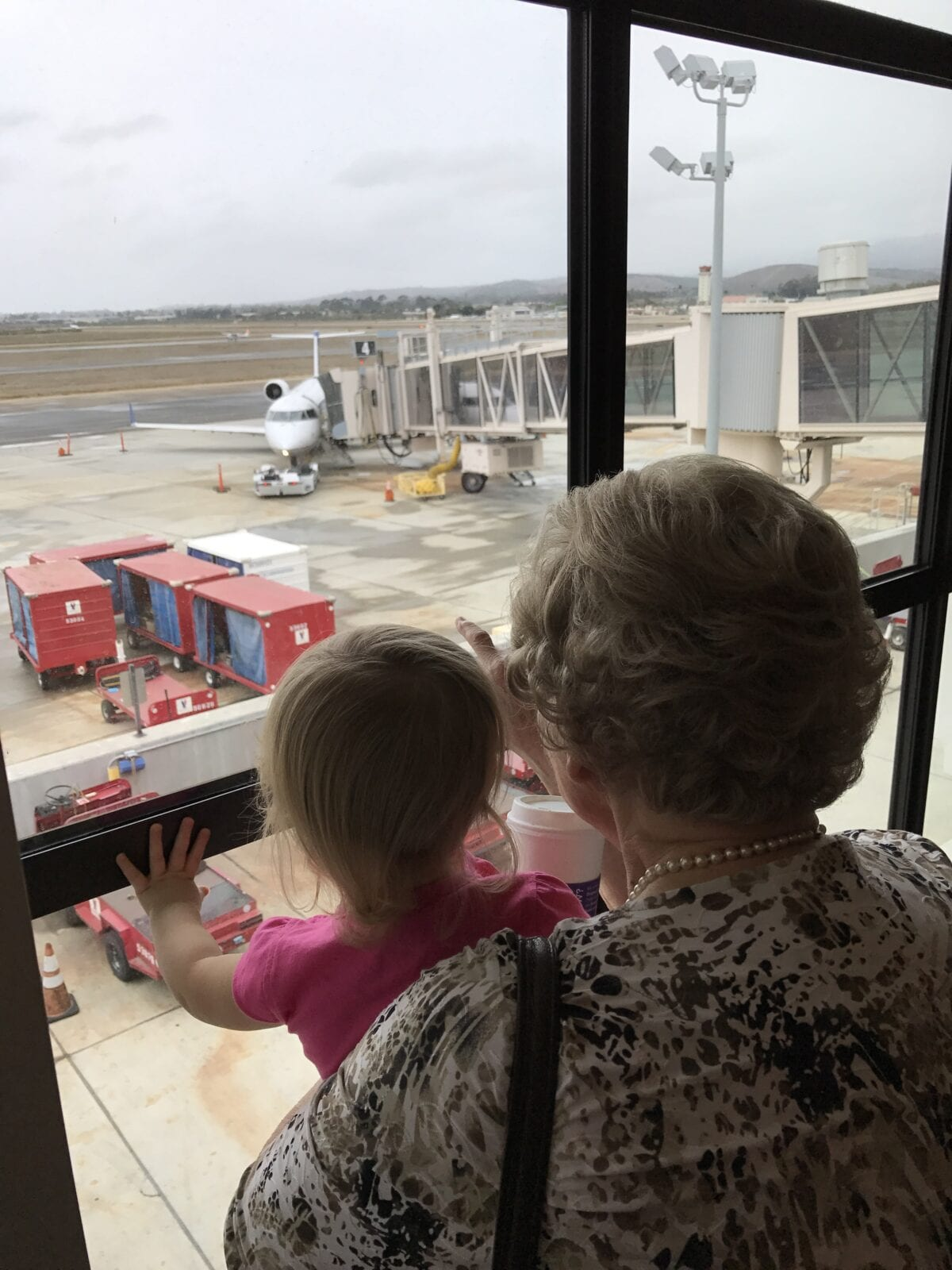 Grandma holding child up to window in airport image.