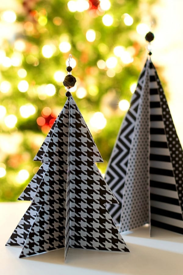 Mini paper Christmas trees in black and white patterns image.