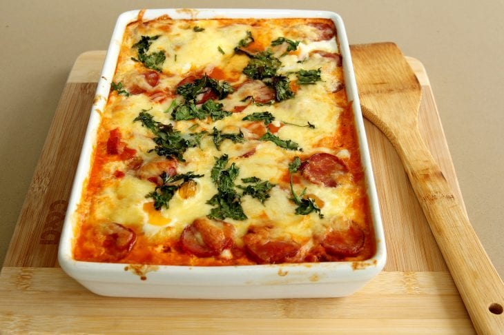 Lasagna in a pan image.