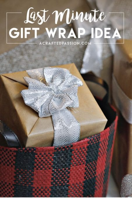 Last minute gift wrap idea using only TWO things! Gift wrapping made quick and easy using things you already have in your home.