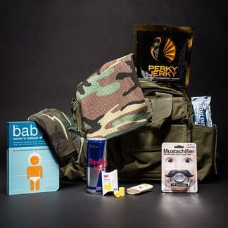 Camo diaper bag and products image.