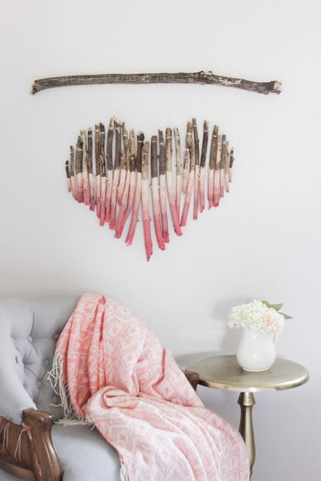 Ombre heart wall art image.