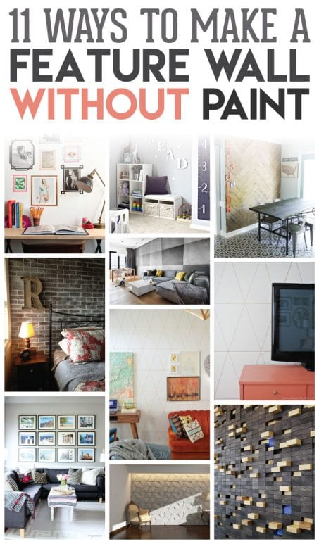 Want to make a change in a room in your home without breaking out the paint? Check out these 11 ways to make a feature wall without paint in your home. SO many creative ideas!