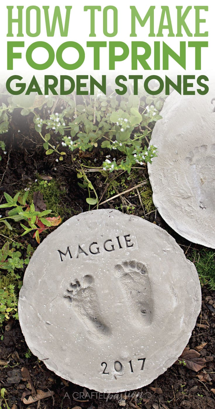 Learn how to make footprint DIY stepping stones out of concrete. Perfect to line the garden pathway and show off your kids little feet with these simple homemade ideas. #diy #garden #steppingstones