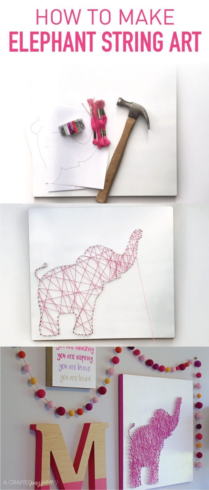 how to make an Elephant string art image.