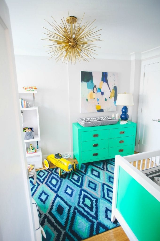 Green and blue theme nursery room image.