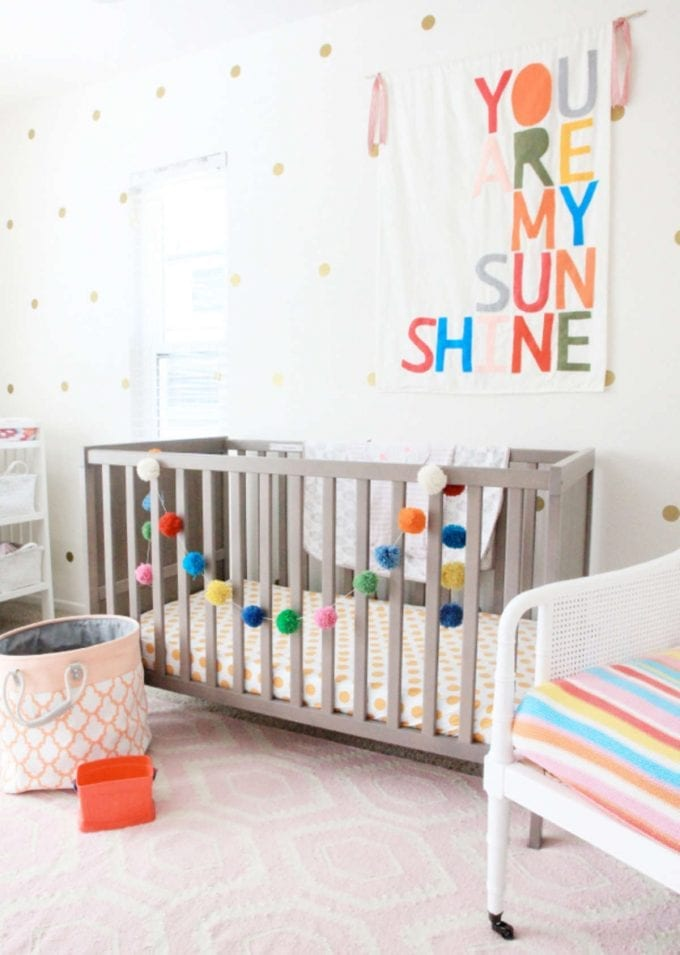 Sunshine colorful baby nursery room image.