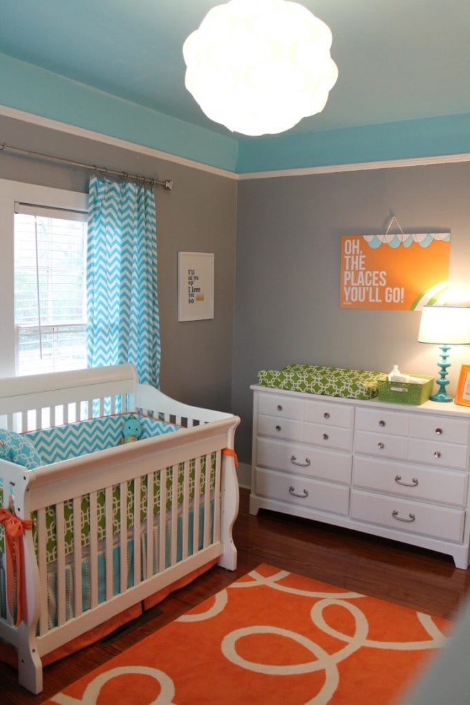 Bright and modern baby nursery room idea image.