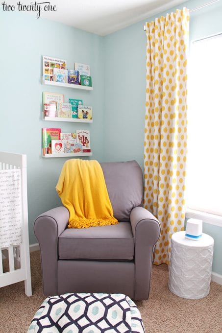 Sunny bright theme baby nursery room idea image.