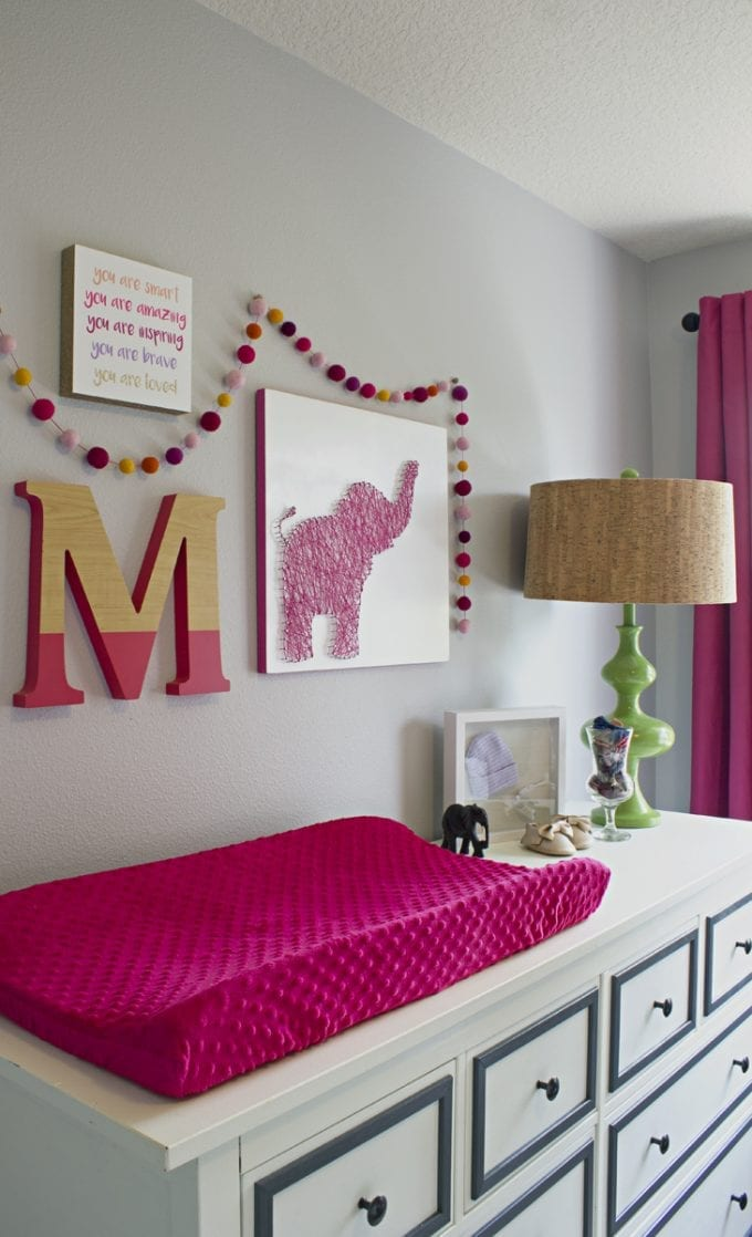 Pink theme baby nursery room idea.