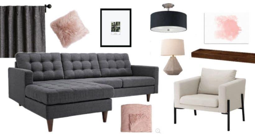 Comfortable Modern Living Room Mood Board Kid Friendly