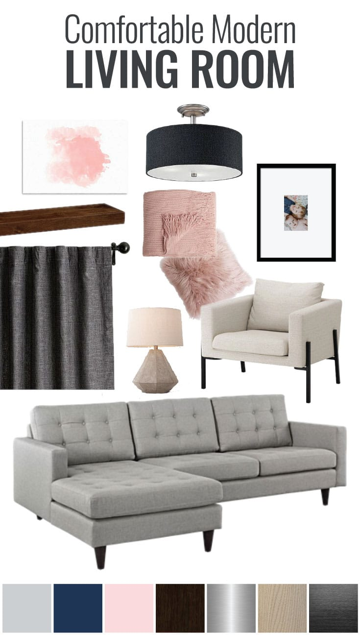 Modern doesn't have to mean bare and cold! Check out this comfortable modern living room mood board for kid-friendly home decor ideas done on a budget!