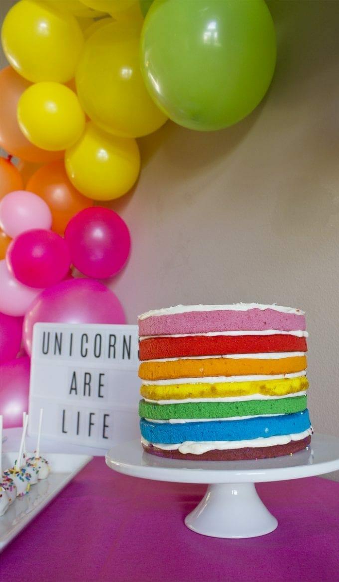 Unicorn Rainbow Birthday Party Cake Image