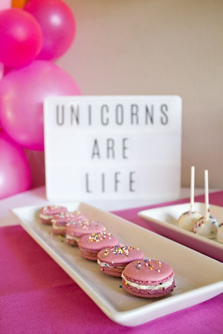 Unicorn adult party macaroons image.