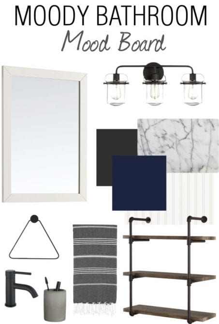 This powder room mood board is so dark and dreamy and full of inspiring home decorating ideas! I CAN'T WAIT to see how this small space turns out!
