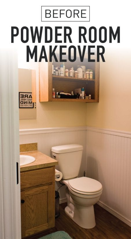 Powder rooms don't have to be boring! This powder room is going to be transformed in six weeks. Check out!