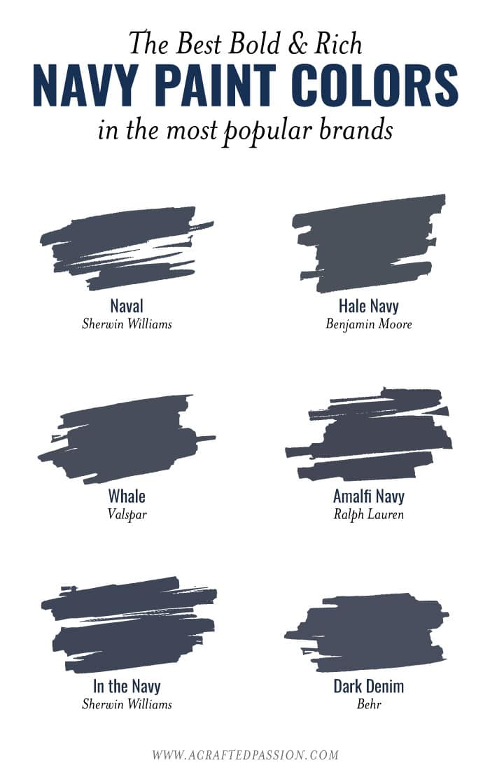 Navy Paint Colors In Diffe Brands