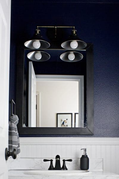 Moody & Dark Bathroom Makeover Reveal // One Room Challenge