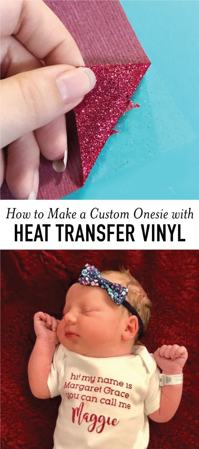 How to Make a Cute Onesie with Heat Transfer Vinyl // New baby on the way? Going to be an auntie? Looking for a fun baby gift idea? See how easy it is to make a custom onesie with heat transfer vinyl with this simple tutorial.