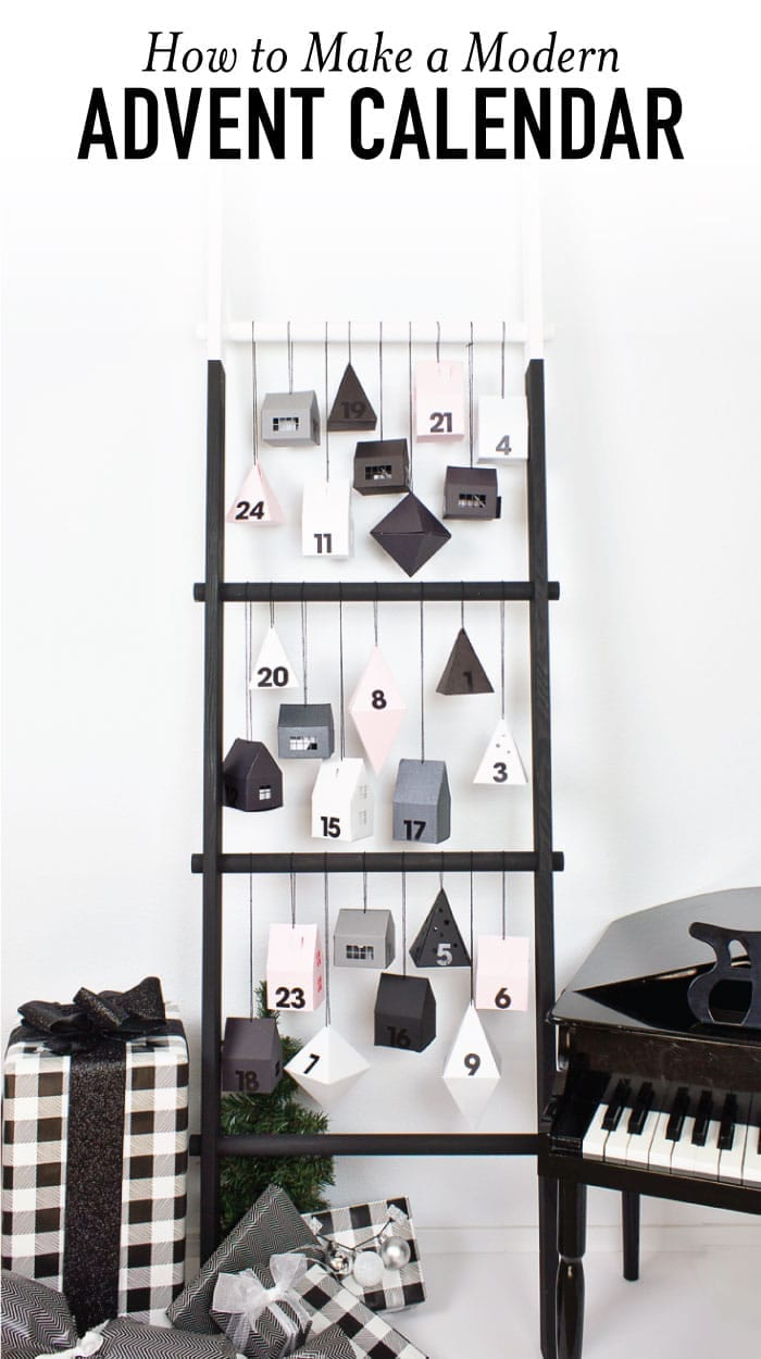 Make a modern advent calendar perfect for toddlers with this paper village filled with activities and fun ideas for Christmas! Plus, this DIY ladder is the perfect way to display it all! #Christmasideas #diycalendar