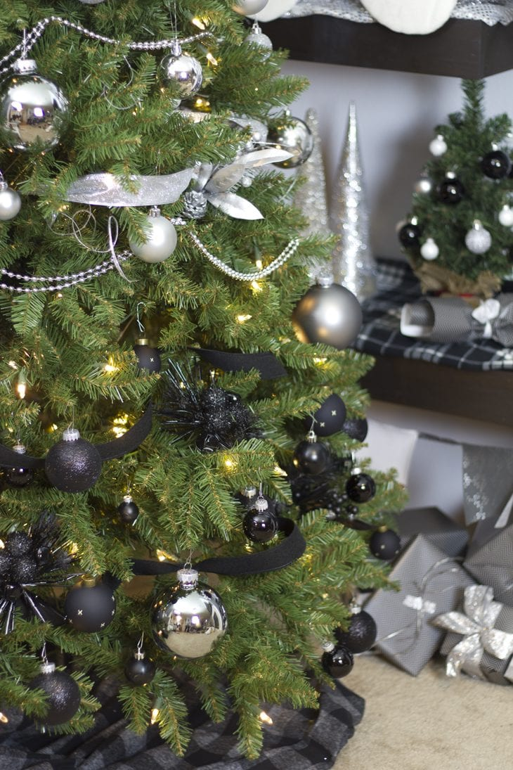 show off your holiday decor with a gorgeous modern white silver and black ombre - Black And Silver Christmas Tree