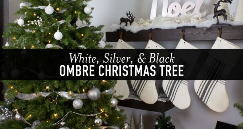 Modern Black Silver And White Ombre Christmas Tree