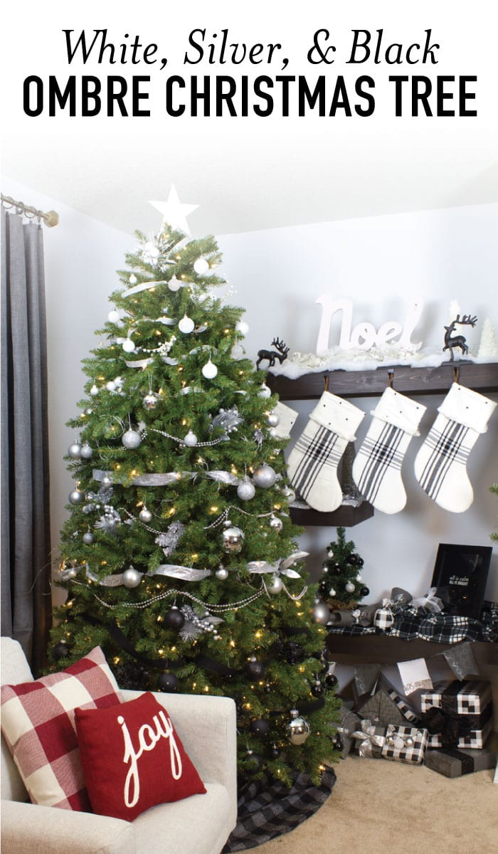 show off your holiday decor with a gorgeous modern white silver and black ombre - Black And Silver Christmas Decorations