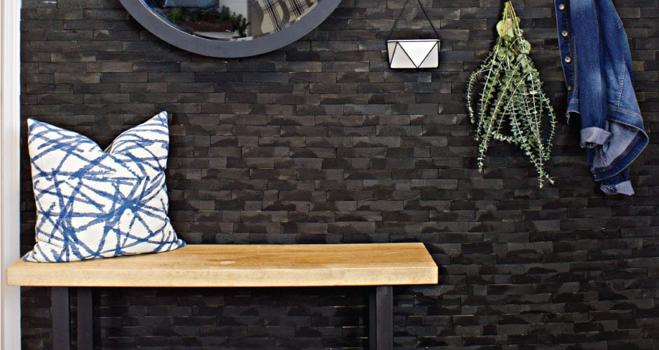 This Industrial Modern Entry Includes A Mix Of Diy Projects With A Custom Wood Slab Bench