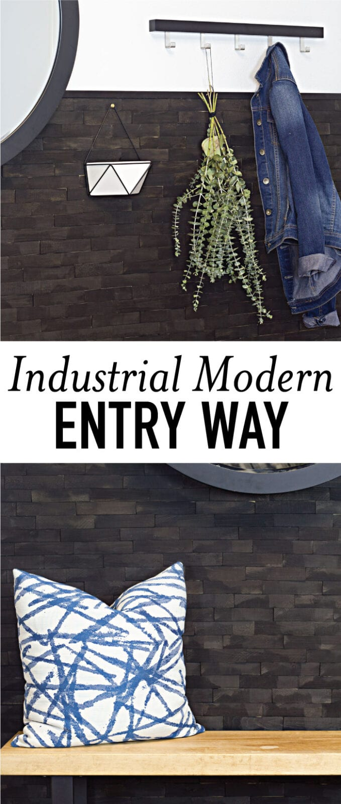 This industrial modern entry includes a mix of DIY projects with a custom wood slab bench and wood shim wall along with simple, modern decor. Check it out for all the details on this entry way.