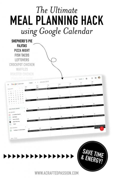 Frustrated with reinventing the meal planning wheel every week? This meal planning hack using Google Calendar saves tons of time and energy by reusing your favorite meals.