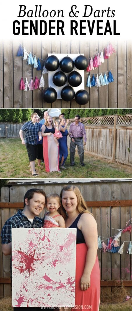 Group of people in a back yard for a gender reveal game of darts image.