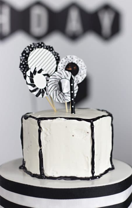 Black and white geometric birthday cake