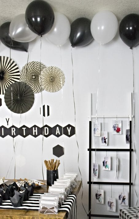 Black and white birthday party decorations