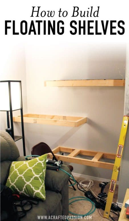 How to build DIY floating shelves image.