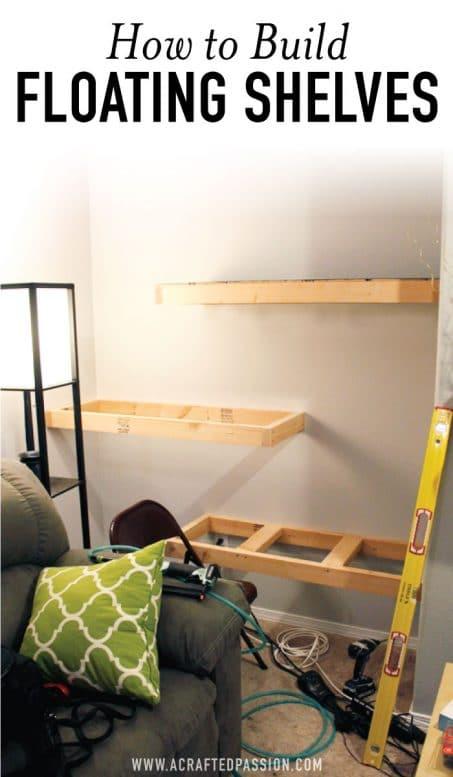 How to build DIY floating shelves image.