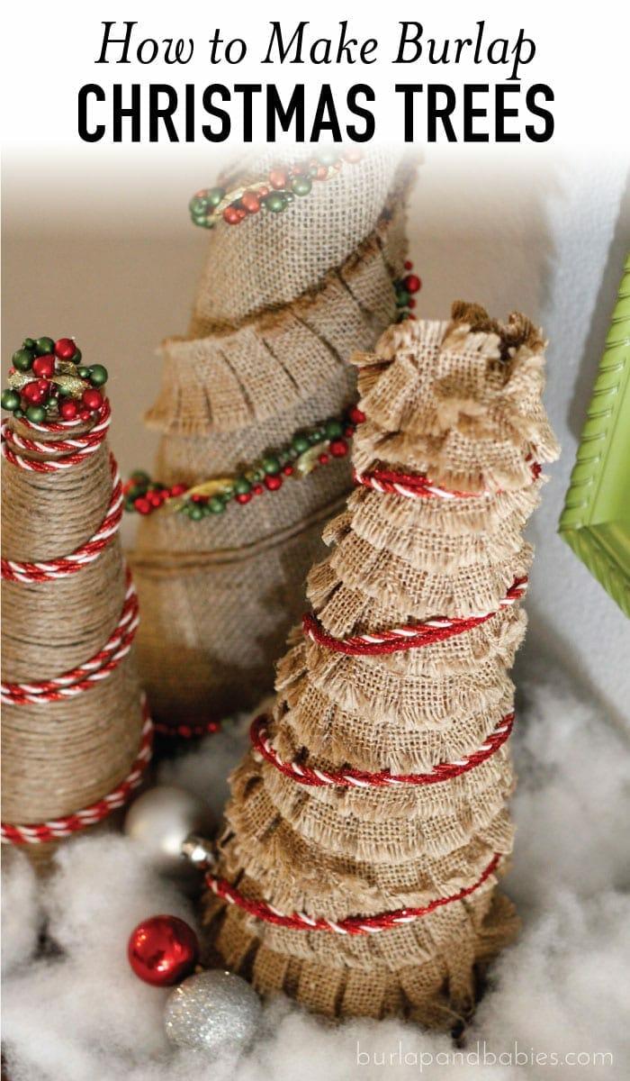 burlap christmas trees with red trim image - Burlap Christmas Tree