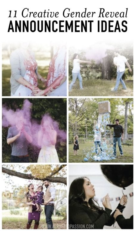 Collage of gender reveal ideas image.