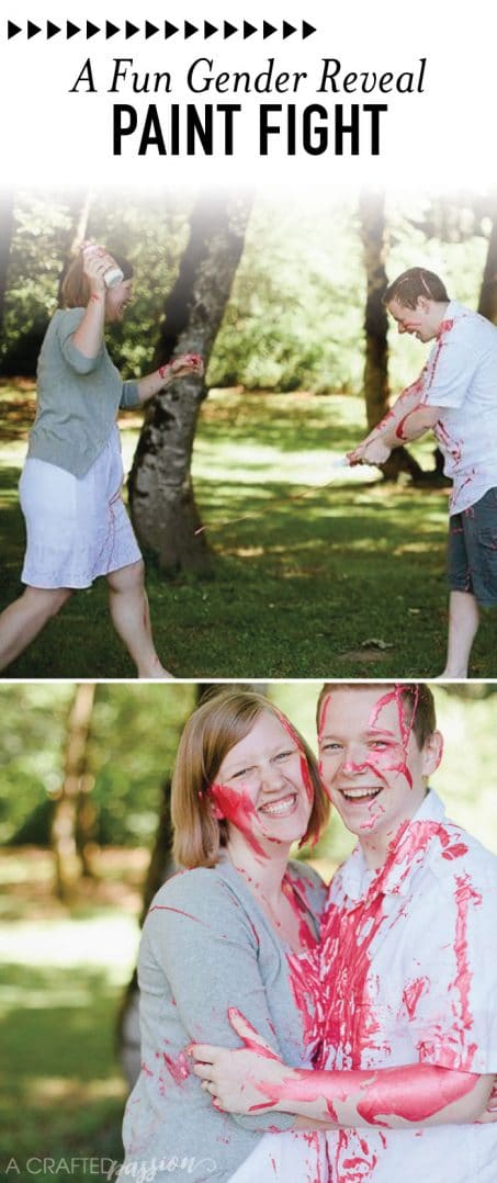 Gender reveal paint fight with smiling couple image.