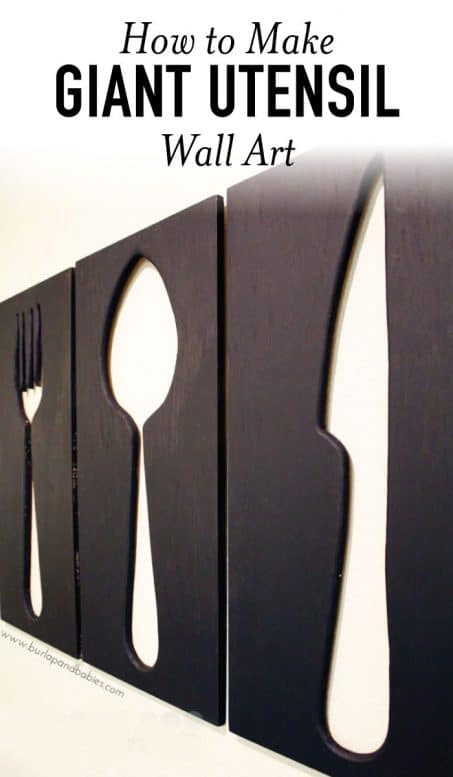 Giant utensil wall art fork, spoon and knife image.