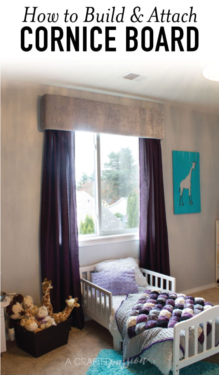 Learn how to attach a cornice board with this DIY tutorial to make an impact in your home. This fabric window treatment idea hides the curtain rod and adds a bit of warmth to the space. #DIYprojects #home #corniceboard