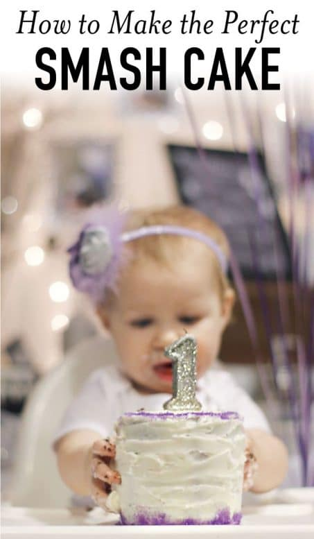 Little girl with 1st birthday cake image.