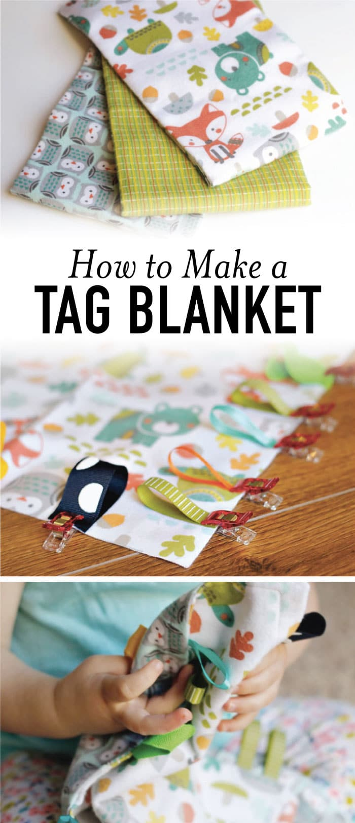 Learn how to make a tag blanket in less than 15 minutes. It's a perfect DIY baby shower gift or gift for a new mom! #tagblanket #easysewing #diy #sew #babygift #babyshowergift