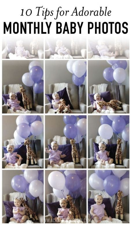 Little baby girl with purple balloons image.