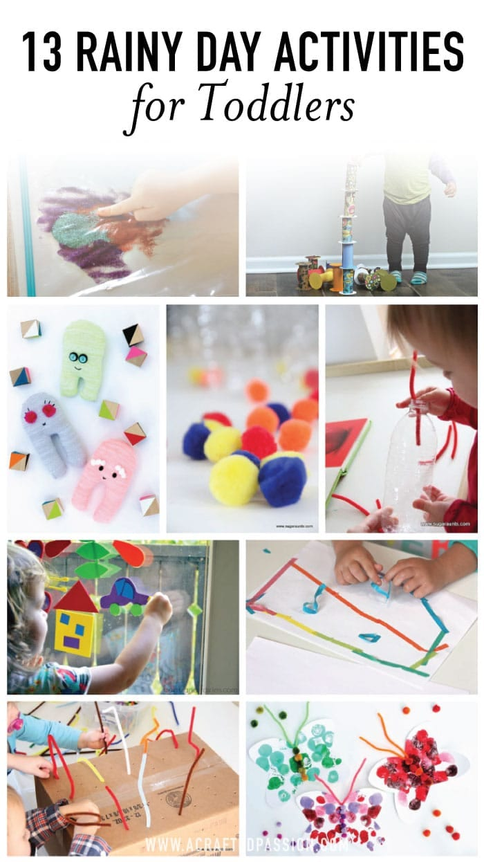 For those days when you wake up and see the rain clouds rolling in, check out these 13 rainy day activities for toddlers to keep them busy. #kidactivities #toddler #momhack