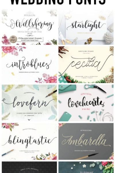 10 Beautiful Script Wedding Fonts from Creative Market